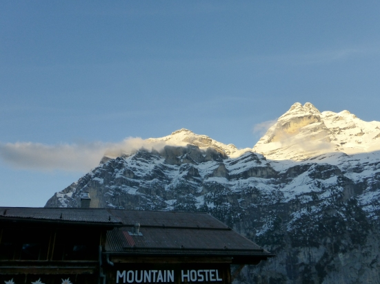 Gimmelwald Mountain Hostel with the Jungfrau in the distance