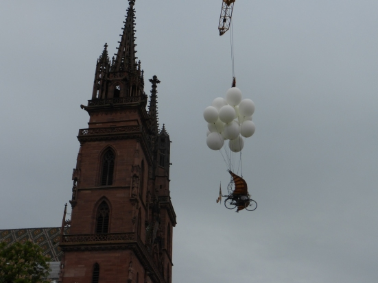Flying machine, helium balloons and the Munster spire.