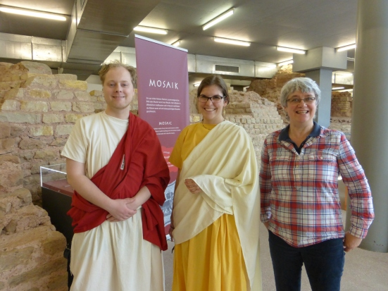 Here's me at the Forum Baths, delighted to meet live Romans for a change!